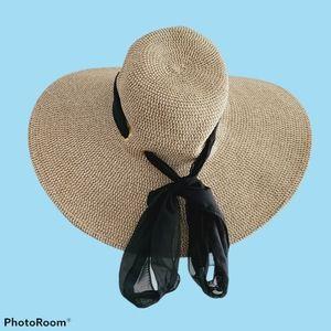 Rima Wide Brim Straw Hat Black Ribbon Cottagecore
